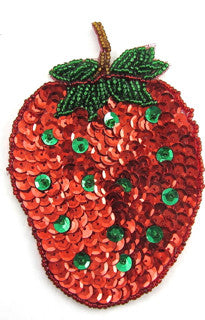 "Strawberry Red and Green Sequins 5"" x 3.25"""