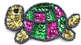 "Turtle with Green Gold Fuchsia Sequins and Beads 2"" X 3.5"""