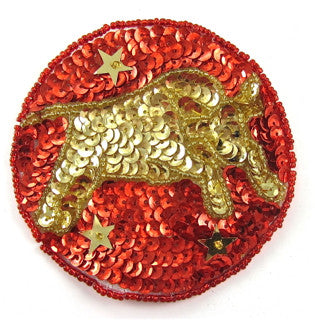 Zodiac Symbol Taurus the Bull, Sequin Beaded  3.5""