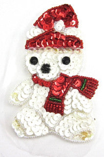 "Teddy Bear Xmas Clothes White and Red Sequins 5"" x 3"""