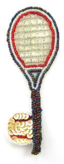 "Tennis Racquet with Ball Sequins and Beads 5.25"" x 2"""