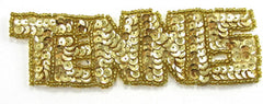 "Tennis Word with Gold Sequins 1.25"" x 4.25"" 2 Color Variants"