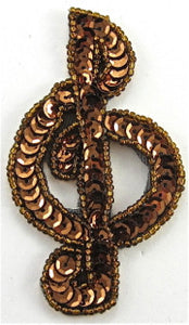"Treble Clef Bronze Sequins and Beads 3.5"" x 2"""