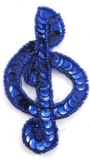 Treble Clef Royal Blue Sequins and Beads 3.5
