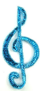 "Treble Clef Turquoise with Sequins and Beads 7.25"" x 3.5"""