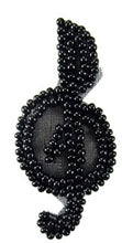 "Load image into Gallery viewer, Treble Clef all Black Beads Tiny 2"" x 1"""