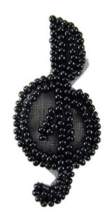 "Treble Clef all Black Beads Tiny 2"" x 1"""