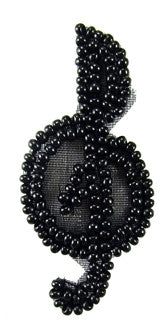Treble Clef all Black Beads Tiny 2