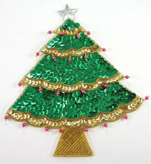 "Tree Christmas Beads/Sequins/Star, 6"" x 7"""
