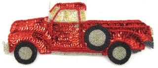 "Classic Truck with Red Seqins and Beads 3.5"" x 8"""
