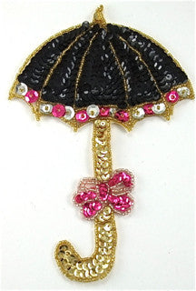 "Umbrella Black Fuchsia Gold Sequins and Beads 7"" x 5"""