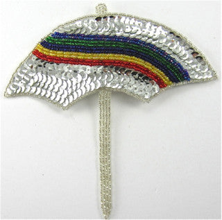 "Umbrella with Rainbow Colored Sequins 6"" x 6"""