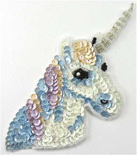 "checkedUnicorn with Blue Mauve and White Sequins and Beads 5"" x 3.5"""