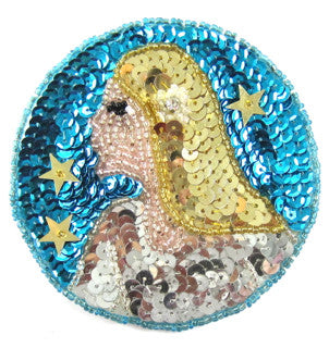 Zodiac Symbol Virgo the Virgin, Sequin Beaded  3.5""