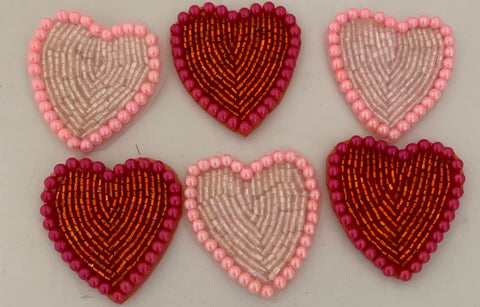 Heart Assortment of 2 Colors, Pink and Red 1.5""