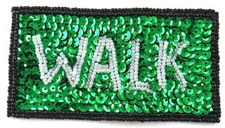 "Walk Street Signal with Green, White and Black Sequin Beaded  4"" x 2.5"""