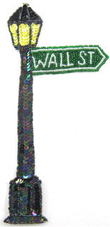 "Wall Street Gaslamp with Moonlight Sequins Beaded Letters 9"" x 4"""