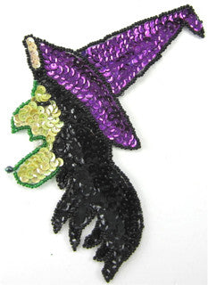 "Witch with Purple and Black Yellow Green Sequins and Beads 7"" x 5"""