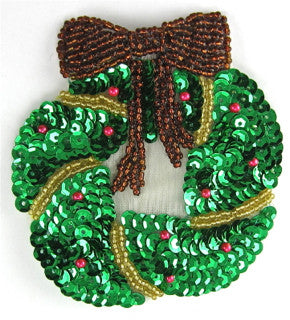 "Christmas Wreath with Bronze Bow 3.25"" x 3.25"""