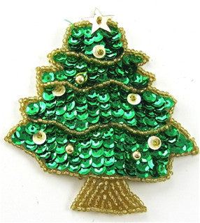 "Xmas Tree with Greeen Sequins and Gold Trim 3"" x 2.5"""