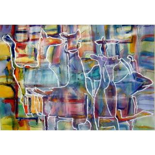 "Painting Titled ""Abstract Animals"" Watercolor 29"" z 37"""
