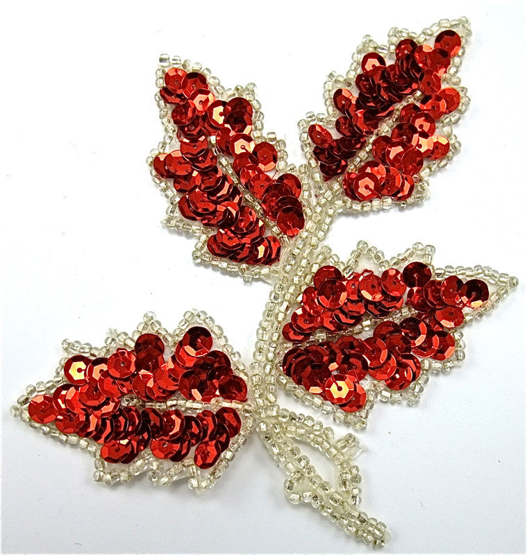 "Leaf Single with Red Sequins and Silver Beads 4"" x 4.5"""