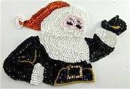 "Sequin Santa Waving, 8"" x 5"""
