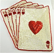 "Royal Flush Hearts with Red and White Sequins 8"" x 8"""