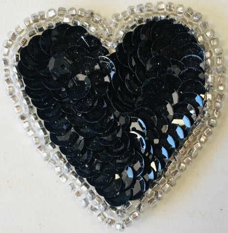 Heart Black Sequins w/ 2 rows of Silver Trim Beads, 2""