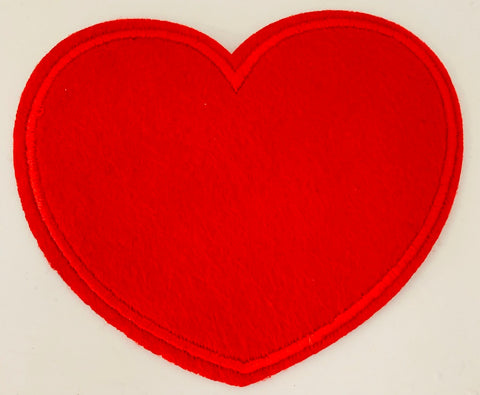 "Heart Red Embroidered Iron-on 3"" x 3.5"""