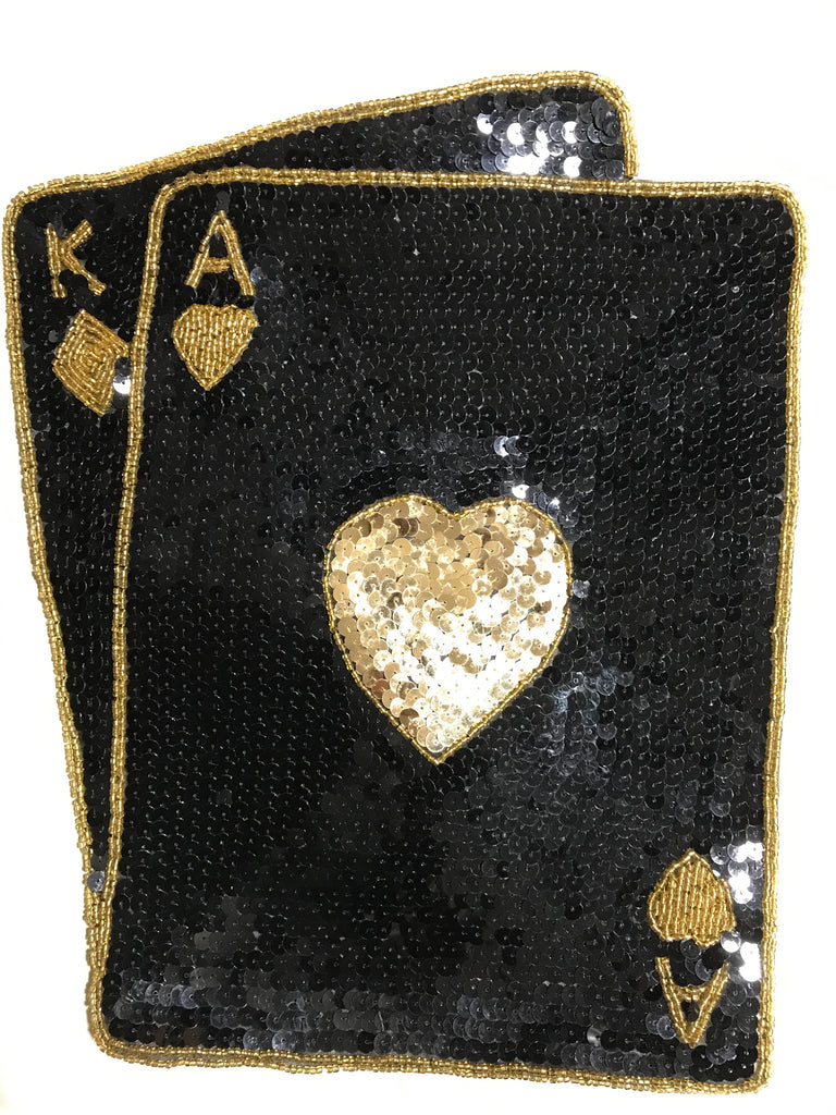 "Ace King Large with Black and Gold Sequins and Beads  12"" x 10"""