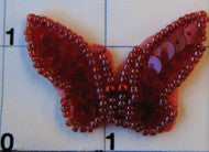 "Iridescent red butterfly with beaded trim 2"" x 1"""