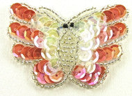 "Butterfly Coral Iridescent Sequins and Beads 3"" x 2"""
