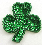 "Three Leaf Clover with Green Sequins 2"" x 2"""