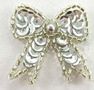 "Bow with Silver Sequins and Beads  in 2 Size Variants 1.5"" & 1.25"""