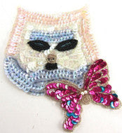 "Cat with Iridescent Sequins and Butterfly Sequin Beaded 5.5"" x 5"""