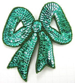 "Bow Large Kelly Green Sequins  5"" x 5"""