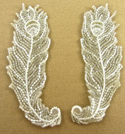 "Designer Motif Feathery Shaped Silver White Beads 5.5"" x 2"""