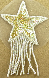 Star with Fringe Tint Yellowish Sequins 2.5""