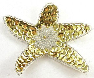 "Star Fish with Gold and Silver Sequins and Beads 4"" x 3.5"""