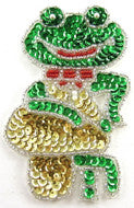 "Frog Green/Gold/Red Sequins/Beads 4"" X 2.5"""