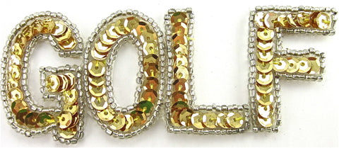 "Golf Word With Gold Sequins and Silver Beads 1.5"" x 3.25"""