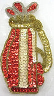 "Load image into Gallery viewer, Golf Club Red and Gold Sequins 6"" x 3.5"""