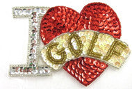 "I Love Golf with Red Heart 3.5"" x 4.5"""