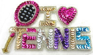 "I LOVE TENNIS Sequin Word 4.5"" x 2.5"""
