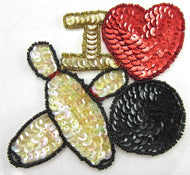 I Love Bowling Sequin Applique 5""