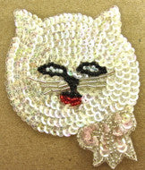 "Cat with Pink Bow Iriescent Sequins 3.5"" x 3"""