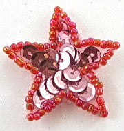 Star Pink with Red Beaded Trim 1.25""