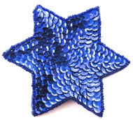 Star Royal Blue with Sequins and Beads 4""