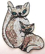 "Cat with Kitten Silver and Black Sequin Beaded 8.5"" x 6"""